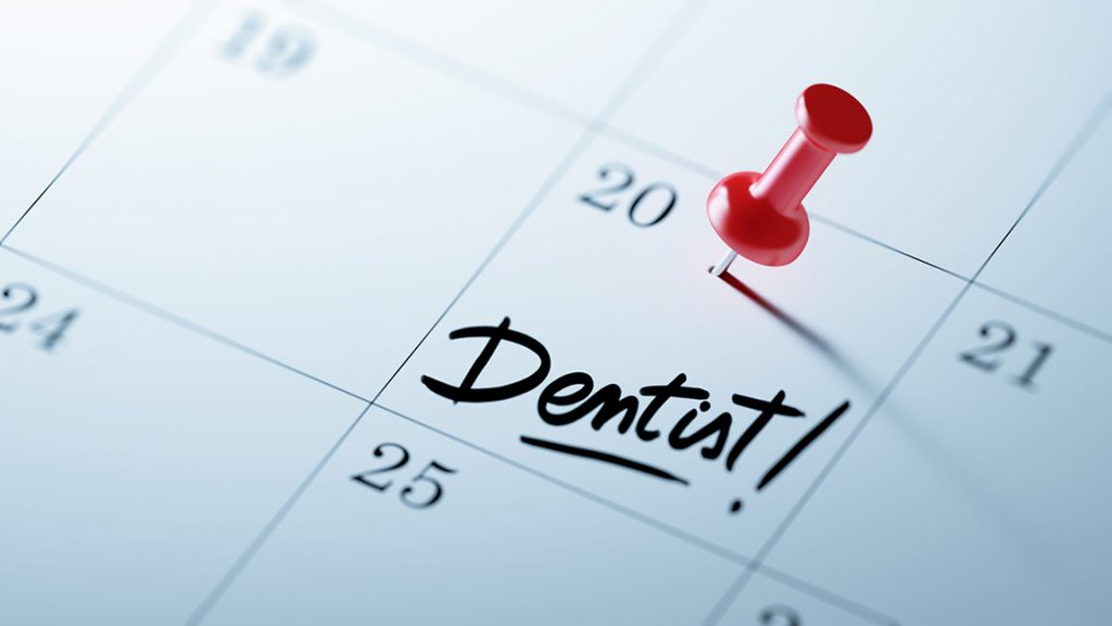 Calendar showing dental appointment